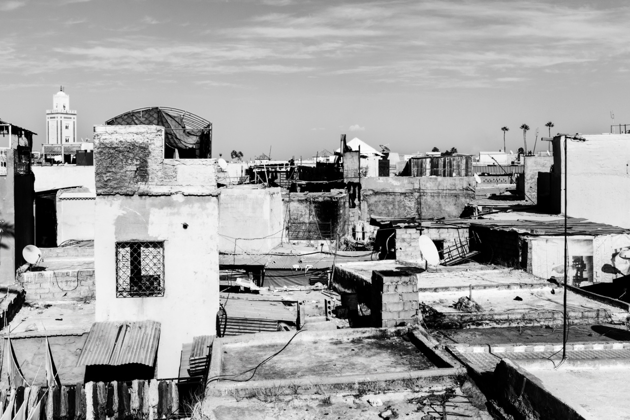 Marrakech - Veduta del minareto dal tetto di una conceria