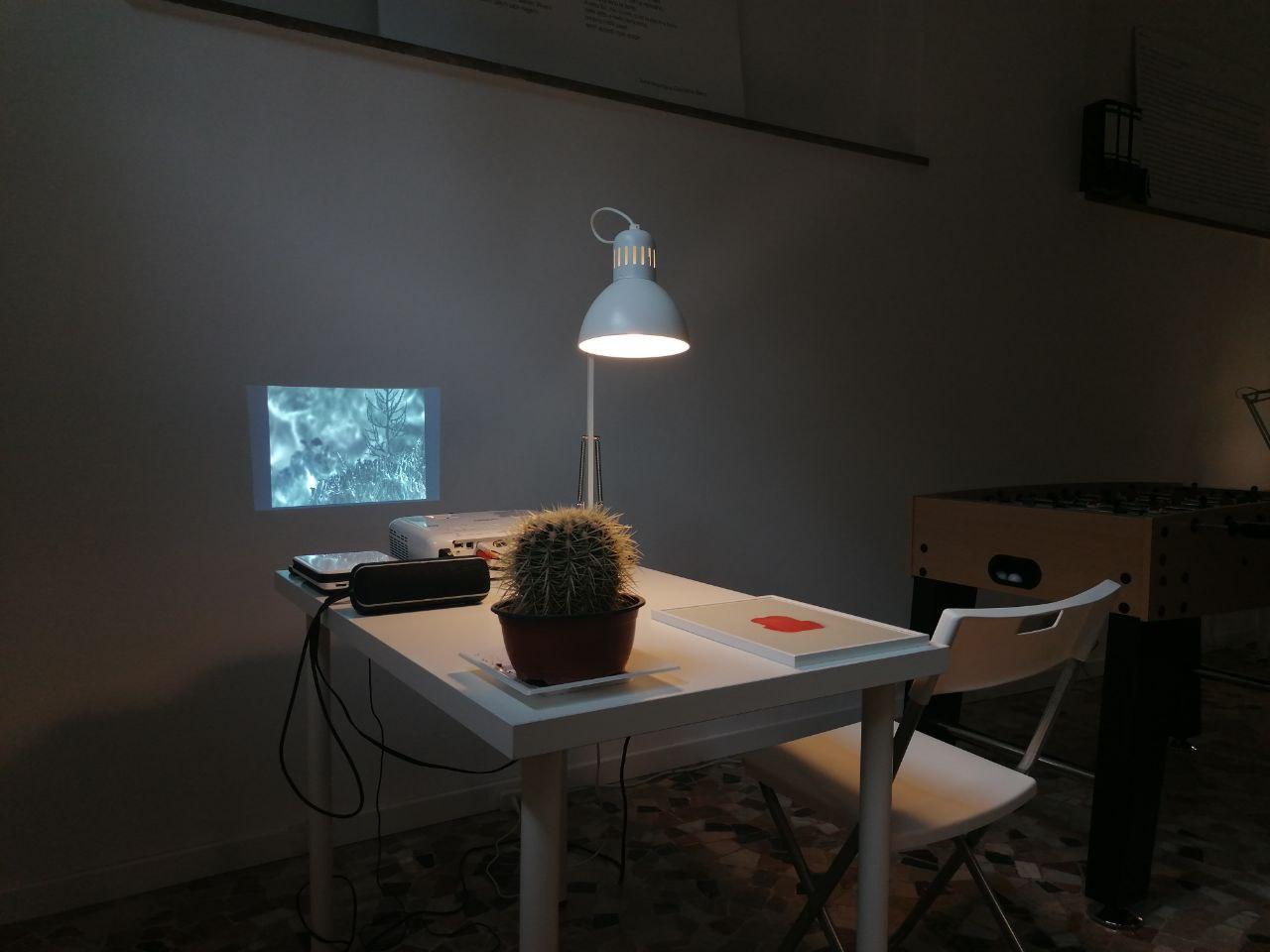 """Video Installatio, collective exhibition """"Nello spazio fa freddo"""",at Chippendale Studio, Walk in studio event, Milan, IT"""